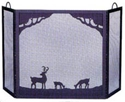 Picture of Black Wrought Iron Screen With Deer In Forest Scene