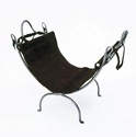 Picture of Wrought Iron Wood Holder With Leather Carrier